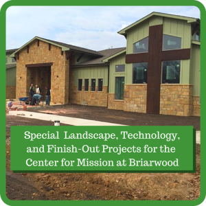 Image of the new Center for Mission still needing landscaping
