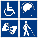 Four blue squares, with white icons depicting (clockwise from top left): a stick figure in a wheelchair, the outline of a head in profile, showing the person's brain, a stick figure walking with a cane, and two hands making the F handshape.