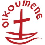 "[Image description: a red cross on a white background; the cross sits on a Z-shaped line resembling a boat or waves in water. The word ""OIKOUMENE"" is written above the cross, curving around it.]"
