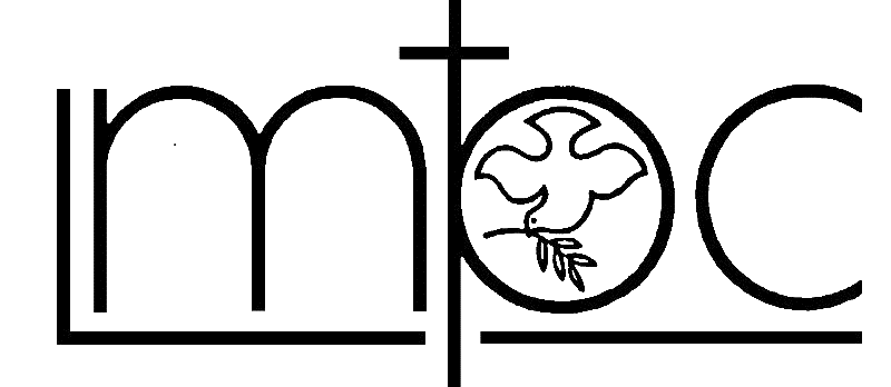 """Lombard Mennonite Peace Center logo [Image description: stylized letters """"LMPC""""; the letter L is upper case, the other letters are lower case; the """"m"""" sits inside the """"L"""". The letter """"p"""" has a cross rising from the vertical line of the """"p"""" and an outline of a dive with a branch in its beak is in the circle of the """"p"""", fwith its wings spread, flying downward.]"""